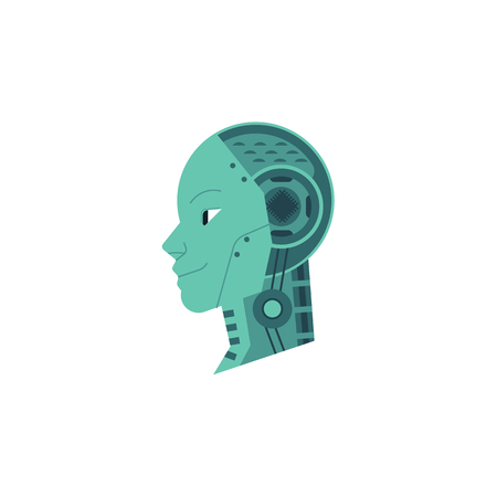 Artificial intelligence image of metal mechanical robot head with microchips isolated on white background. Future machine engineering concept. Flat vector illustration.