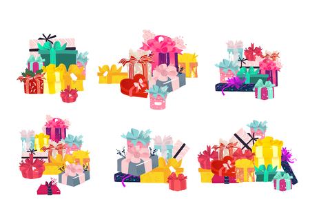 Gift boxes in piles collection - various stacks of wrapped colorful present packages decorated with ribbons and bows isolated on white background. Cartoon vector illustration for greeting card.