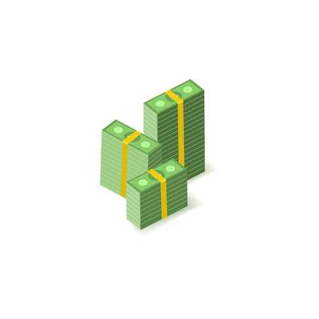 Stacks of green paper banknotes in packs of one hundred notes isolated on white background - isometric money element for finance, banking and economy theme banner or infographic. Vector illustration.