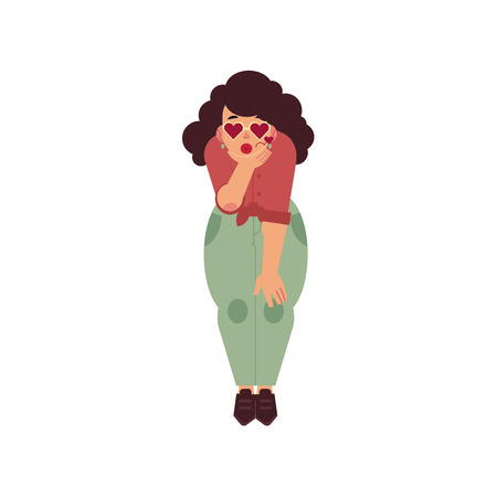 Hand drawn plump obese girl blow air kiss in fancy heart shape sunglasses. Cartoon style cute female character in casual clothing. Vector adult brunette overweight woman having fun Illustration
