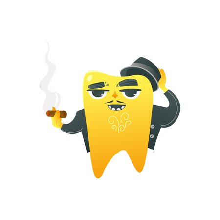 Funny golden tooth adult character in coat and hat smoking cigar isolated on white background. Humour cartoon dental vector illustration for oral health and care concept.