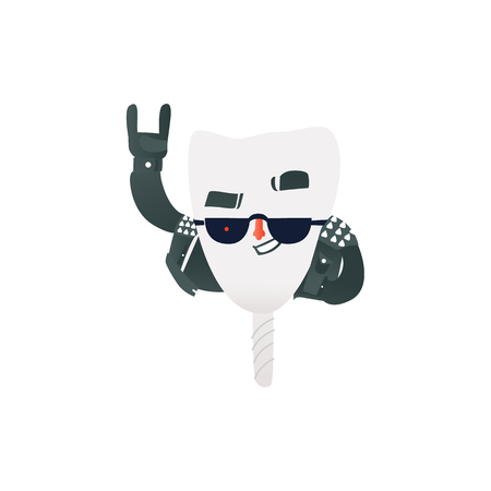 Happy healthy tooth implant in rock clothes and sunglasses making hand horns gesture. Isolated cartoon character of strong dental implant for oral health and care concept vector illustration. Illustration