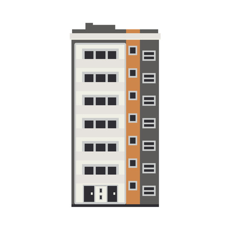 City apartment house front view in flat style isolated on white background. Modern high-rise building exterior with windows, balconies and doors real estate and property concept vector illustration.