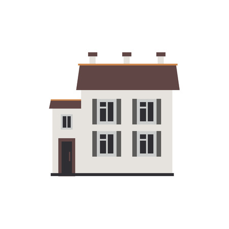 City apartment house of two-storey with windows and door front view in flat style isolated on white background. Modern townhouse exterior for real estate and property concept vector illustration. Illustration