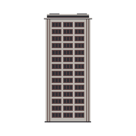 City high-rise building front view in flat style isolated on white background. Modern apartment or office building exterior with windows for real estate and property concept vector illustration.