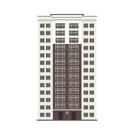 City multistorey building exterior front view with windows, balconies and doors in flat style isolated on white background. Modern high-rise apartment or office building. Vector illustration