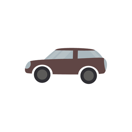 Brown passenger car - flat design of vehicle isolated on white background. Automobile transport with engine simple silhouette, side view. Vector illustration.