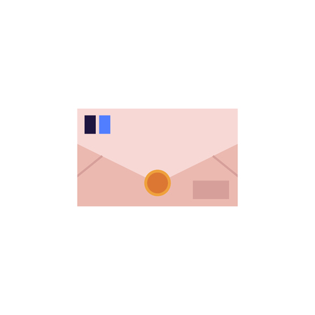 Closed postal envelope from brown paper with blue stamps ready for transportation and delivery isolated on white background. Flat vector illustration of letter for logistics or shipping business. Illustration