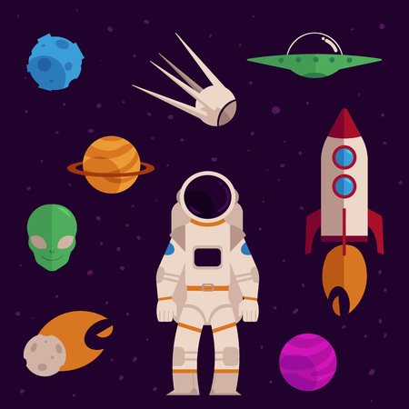Space, cosmos objects icon set. Planet with ring, craters, comet, satellite asteroid or meteor spaceman, suit, rocket, spacecraft, alien face, flying saucer. Astronomy galaxy exploration design vector