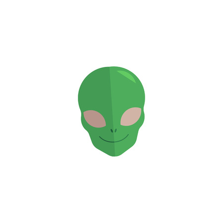 Alien green face icon. Extraterrestrial creature, et invader head. Space cosmic fantastic monster, futuristic humanoid head smiling. Science fiction element. Vector flat isolated illustration