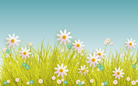 Green meadow grass, daisy chamomile flowers on blue sky background.
