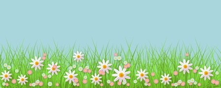 Spring background with grass and flowers border against blue sky with empty space for text.  イラスト・ベクター素材