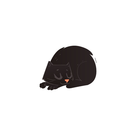 Cartoon cute black cat animal sleeping curled up front view. Funny hand drawn kitten pet. Domestic adorable feline kitty character, design element. Vector illustration isolated.