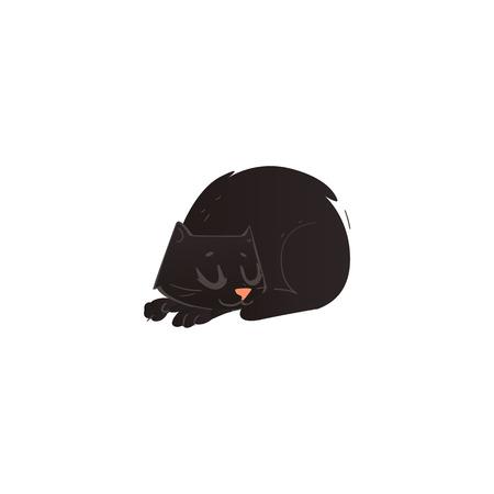 Tierschlafen der netten schwarzen Katze der Karikatur kräuselte sich ehrliche Ansicht. Lustige Hand gezeichnetes Kätzchenhaustier. Inländischer entzückender katzenartiger Miezekatzecharakter, Gestaltungselement. Vektor-Illustration isoliert.