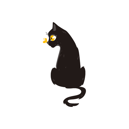 Cartoon cute black cat animal sitting with butterfly at her nose, front view. Funny hand drawn kitten pet. Domestic adorable feline kitty character, design element. Vector illustration isolated.