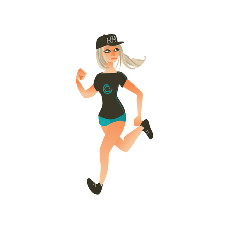 Young sportive girl in summer clothing, blonde hair, cap running looking back. Beautiful female character, redhead woman runaway with afraid face. Isolated vector illustration in cartoon style Çizim