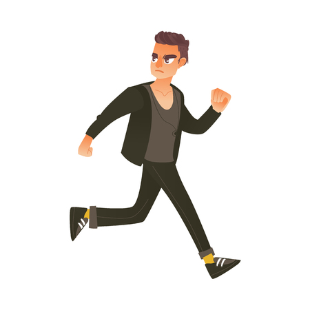 Young man in casual clothing running in panic looking back.