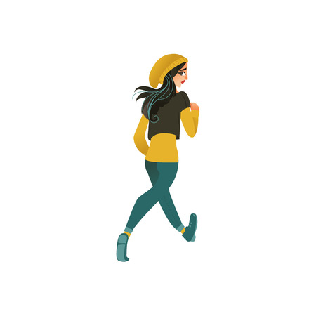 Young sportive girl in athletic clothing, running looking back. Beautiful female character, redhead woman runaway with afraid face back view. Isolated vector illustration in cartoon style