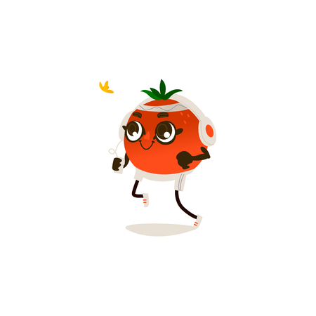 Cheerful orange character in headphones running, jogging working out. Cute healthy fruit, organic food full of vitamin. Cartoon smiling hand drawn plant with arms, legs. Vector illustration Ilustracja