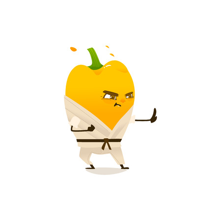 Focused yellow pepper character in kimono doing fight, punch exercises. Vegetable cute healthy organic food full of vitamin. Cartoon smiling hand drawn plant with arms, legs. Vector illustration