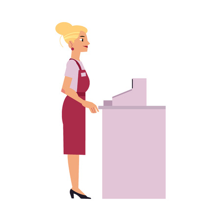 Supermarket female cashier in uniform and apron stands behind cash desk with equipment isolated on white background. Cartoon smiling young woman working in store, vector illustration.