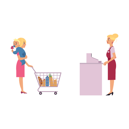 Supermarket cash desk with female cashier in uniform and apron behind equipment and young mother with child in arms purchaising food goods in storage isolated on wite background, vector illustration.