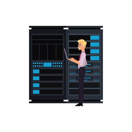 Server room illustration with data center storage and young it engineer with laptop working with computer technologies. Flat isolated vector with telecommunication, web connect and computer service