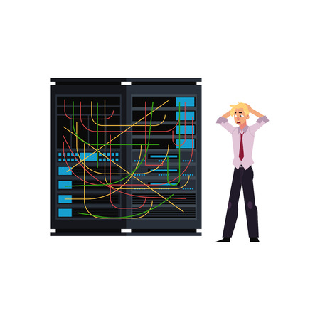 Server room illustration - data center storage with tangled wires and young system administrator holding his head in horror. Working wit it technologies flat cartoon isolated vector. 向量圖像
