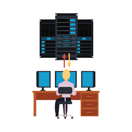 Server room and it engineer working pc illustration with data center storage and young system administrator connecting network. Telecommunication and computer service flat isolated vector. Illustration