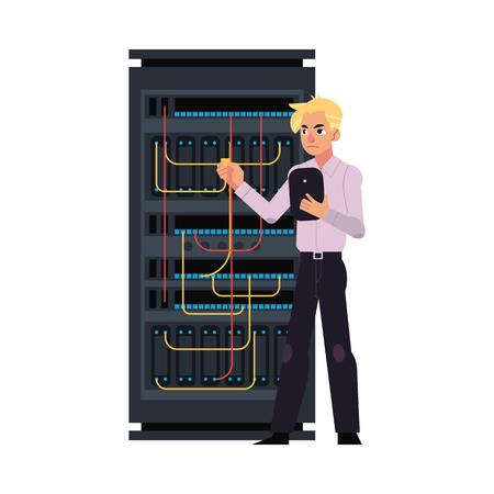 케이블을 연결하고 IT 기술을 사용하는 태블릿을 사용하는 데이터 센터 및 젊은 시스템 관리자가있는 서버 룸 그림. 플랫 만화 스타일 벡터 흰색 배경에 고립입니다.