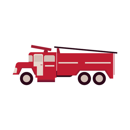 Red firetruck with ladder isolated on white background. Flat vector illustration of fire engine, emergency vehicle equipment for firefighting and rescue servicing.