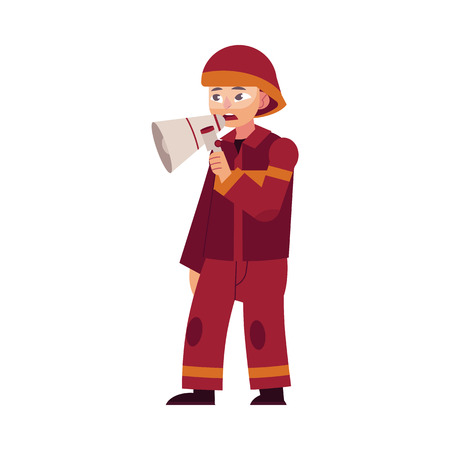 Firefighter in red protective uniform and helmet stands holding loudspeaker in hand and informs people about fire and danger isolated on white background. Flat cartoon character, vector illustration. Archivio Fotografico - 99995020