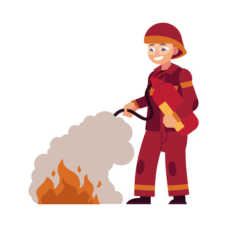 Firefighter in red protective uniform and helmet stands and extinguishes fire by spraying extinguisher. Flat cartoon vector illustration of male rescue worker isolated on white background.