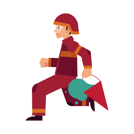 Fireman in red protective uniform and helmet runs holding cone bucket with water to extinguish fire isolated on white background. Flat cartoon vector illustration of male rescuer at work. Illustration