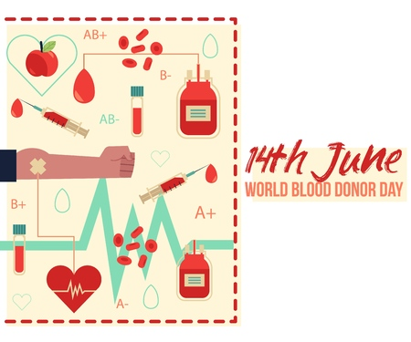 14th June donor blood day illustration with isolated donation lifesaving and hospital equipment.