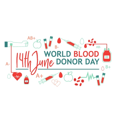 World blood donor day banner with giving blood charity elements isolated on white background. Illustration