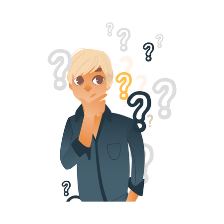 Young blonde hair man in casual clothing standing in thoughtful curious pose holding his chin thinking with questions above head. Isolated vector illustration, portrait in cartoon style