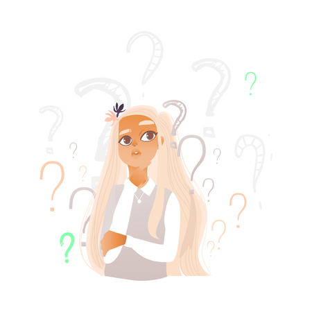 Young cute caucasian woman portrait with long blonde hair thinking. Beautiful character standing thoughtful pose holding chin thinking with questions above head. Isolated vector illustration