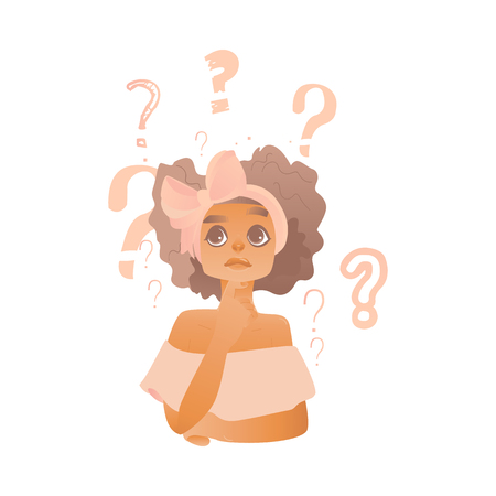 Young cute caucasian woman with bow in hair thinking. Beautiful character standing thoughtful pose holding chin thinking with questions above head portrait. Isolated vector illustration
