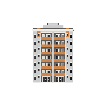 City multistorey house front view with balconies, windows and doors in flat style isolated on white background. Modern high-rise building exterior - for real estate agency concept. Vector illustration