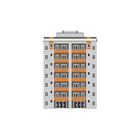 Stad met meerdere verdiepingen huis vooraanzicht met balkons, ramen en deuren in vlakke stijl geïsoleerd op een witte achtergrond. Moderne hoogbouw buitenkant - voor het concept van een makelaarskantoor. Vector illustratie