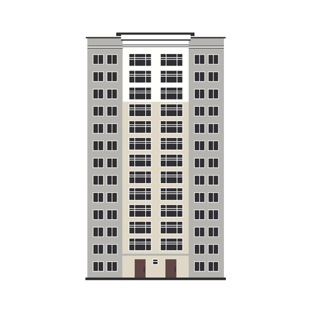 City multistorey house exterior front view - apartment or office building with balconies, windows and doors in flat style isolated on white background. Vector illustration