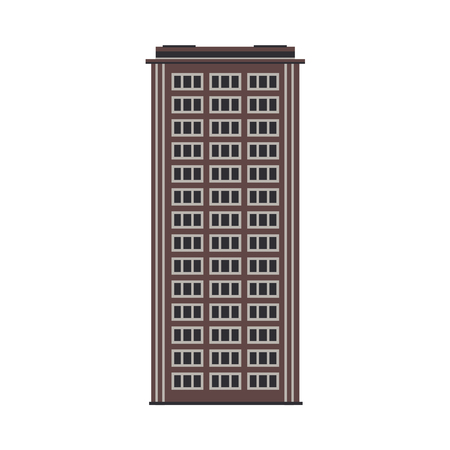City multystorey building exterior front view in flat style isolated on white background - modern apartment or office structure with windows for real estate and property concept. Vector illustration.