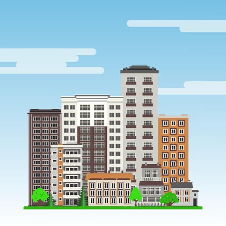 City landscape with high-rise apartment houses and municipal buildings, green trees and lawn on blue sky background with clouds in flat style. Colorful city skyline. Vector illustration.