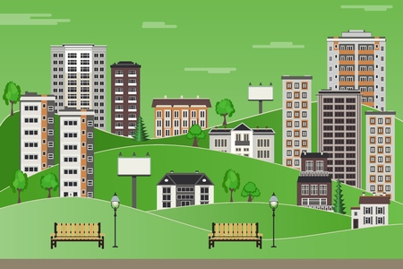 Green paper city landscape with high-rise apartment houses and office buildings, trees and benches in public park on sky background with clouds. Flat colorful city skyline. Vector illustration. Çizim