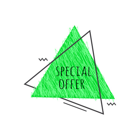 Grunge geometric badge with Special Offer sign - scratched green triangular graphic shape isolated on white background for promotion or advertise banner, special price sticker. Vector illustration.