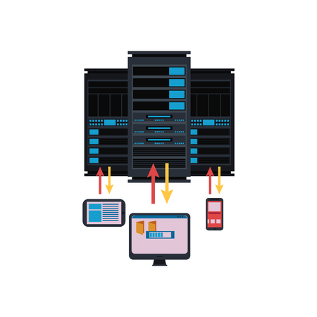 Server room and connection with computer technologies conceptual isolated illustration.