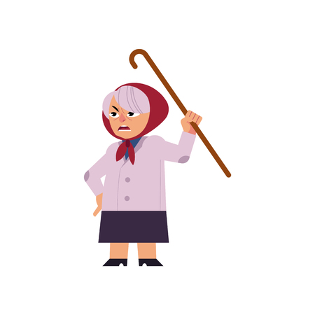Old angry woman swearing and threatening with her walking-stick isolated on white background.