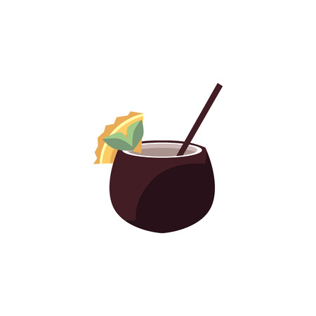 Exotic cocktail in coconut - tropical drink decorated with fruit slice and straw isolated on white background. Summer beach resort fresh beverage in cartoon style. Vector illustration.
