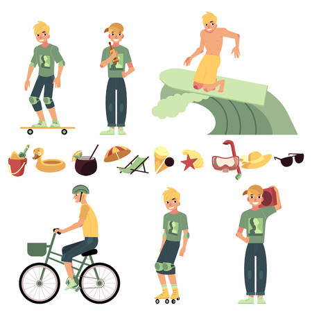Young man in various summer active recreations set - handsome guy with blonde hair having fun in summertime and equipment for rest isolated on white background. Vector illustration.